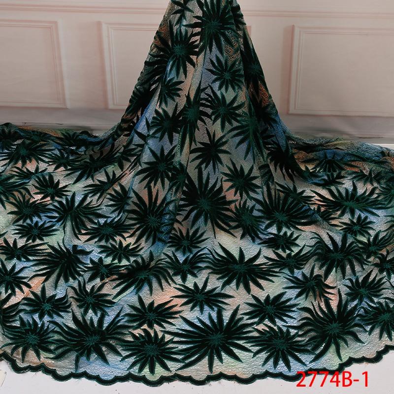 High Quality Velvet Lace Fabric, Newest Nigerian Lace Fabric,African Velvet Fabric Lace For Women Dress KS2774B-1