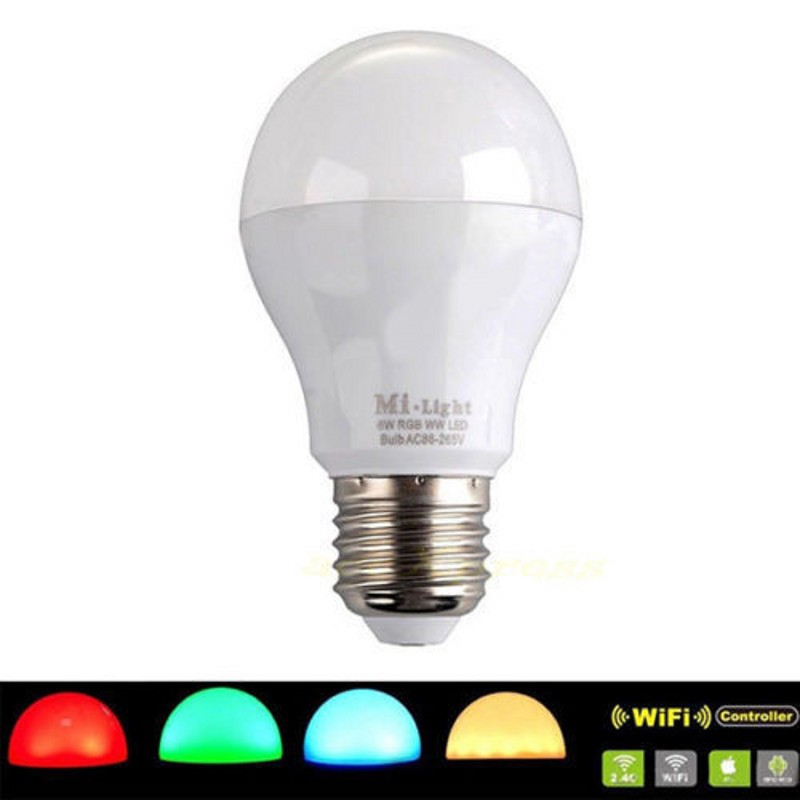 Mi Light iOS Android 110V 220V E27 6W RGBW (RGB+ cold white ) 2.4G Wifi Smart Light LED Bulb Lamp Dimmable wifi controller ibox