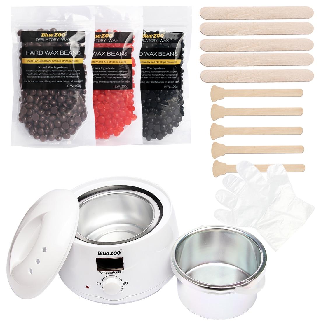 No Strips Hair Removal Wax Heater Depilatory Wax Set Hot Wax Heater Machine + 3 Bag Wax Beans + 10 Wood Spatulas + 10 Gloves hecig wax