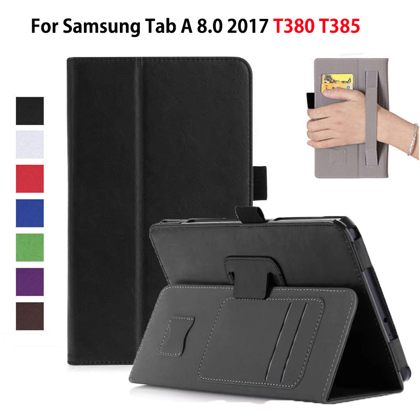 Luxury Case For Samsung Galaxy Tab A 8.0 T380 SM-T385 2017 Cover Funda Tablet PU Leather Hand Holder Flip Stand Shell+Film+Pen luxury pu leather silicon case for samsung galaxy tab 3 8 0 sm t310 t311 t315 case cover funda fashion tablet flip stand shell