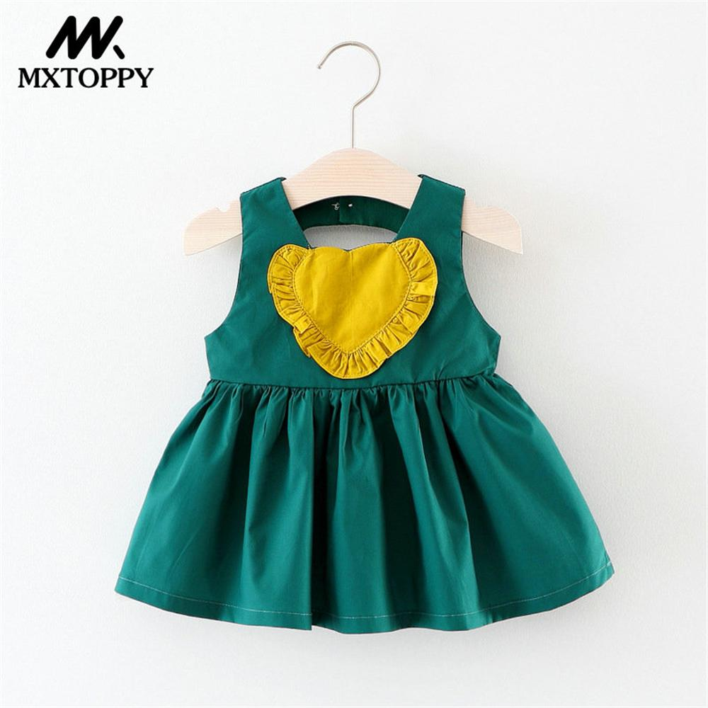 MXTOPPY Baby Girls Dress 2018 Summer Sleeveless Yellow Baby Dress For Bebe Girls Baby Clothes