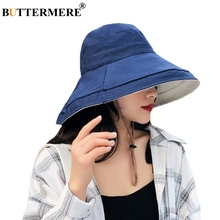 BUTTERMERE Navy Blue Hat Women Cotton Linen Folding Bucket Ladies Solid Reversible Summer Beach Wide Brim Female Fishing Cap