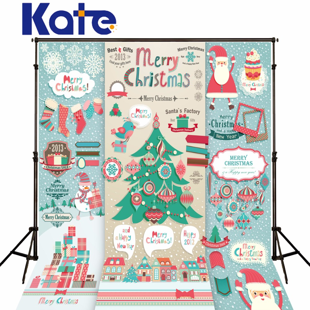 Kate Photography Backdrops Christmas Blue Background Cartoon Christmas Tree Santa Claus For Children Photographic Studio сумка kate spade new york wkru2816 kate spade hanna