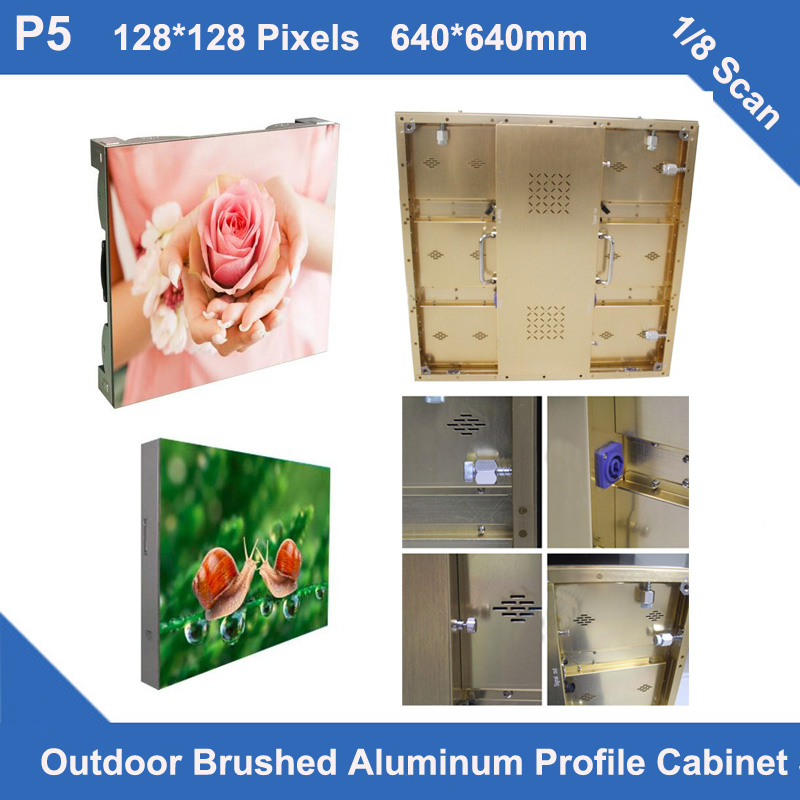 TEEHO P5 LED Outdoor Golden Brushed Aluminum Profile Cabinet 640mm*640mm 1/8 Scan Advertising Panel Billboard Led Display Screen