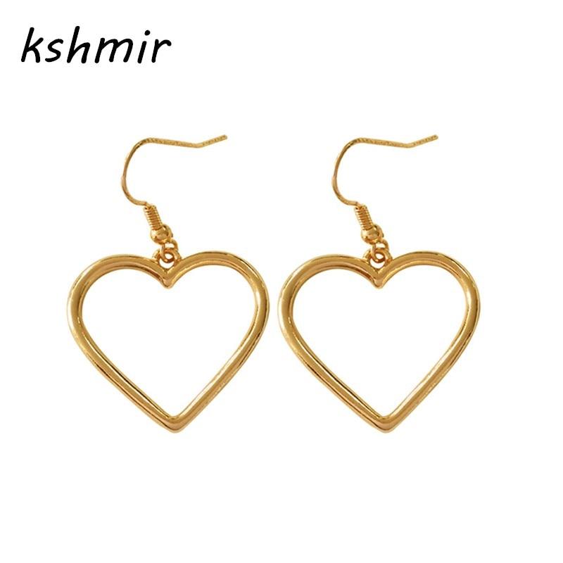 Kshmir colgante en forma de corazón Pendientes de corazón de melocotón Los pendientes de moda minimalistas Los accesorios de niña pendientes para mujeres