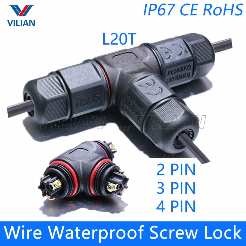 T Connector T Shape 2 pin 3 pin 4 pin IP67 Waterproof cable Connector Electrical wire quick plug Screw outdoor Lighting 1 unit 5pcs t shape 2 pin scotch lock quick splice wire wiring connector for 22 18awg led strip wire car audio cable terminals crimp