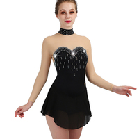 2018 New Figure Skating Dress Women Black Rhinestone Long Sleeve Ice Skating Dresses For Girls Clothing Performance Wear ZH8040