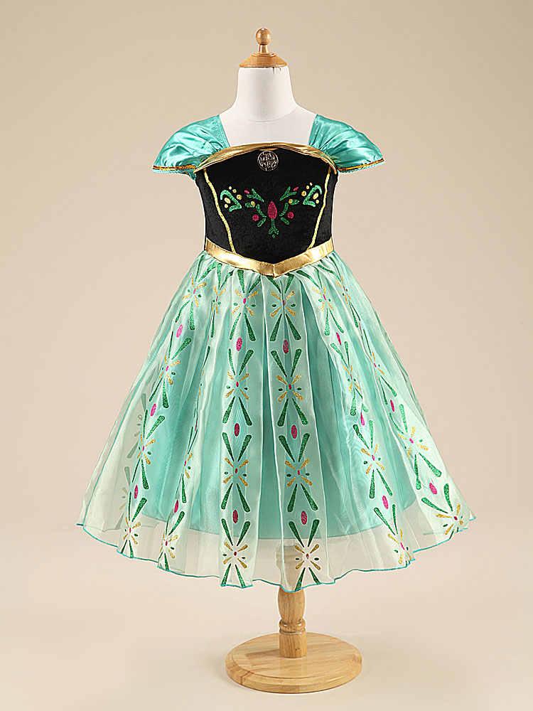 d1df65b0b3 ... Nuevos vestidos personalizados para niñas Anna Elsa vestidos de  invierno para niños Vestido de fiesta de ...