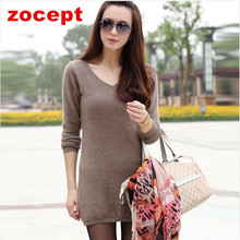 zocept 2016 New Mink Cashmere Pullover Women Winter Solid V-Neck Long Sweater Fashion High Quality Knitted Warm Female Clothes