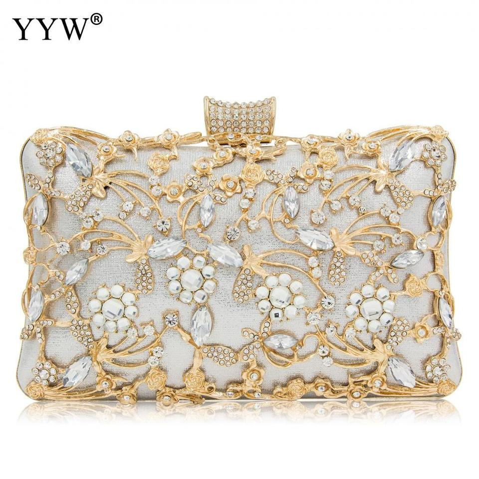 Women Rhinestone Clutch Bags Gold Purse