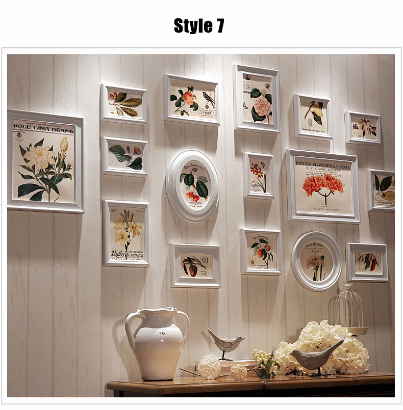Mediterranean Style 16 Pcs Set Wooden Photo Frame Creative Frames For Picture Collage Vintage