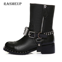 RASMEUP Fashion Women Genuine Leather PU Ankle Boots Rhinestone Buckle Rivets Boots Thick Heel Motorcycle Woman