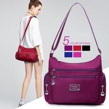 패션 다기능 포켓 여성 숄더 가방 고품질 내구성 방수 라이트 나일론 패브릭 메신저 가방 여성