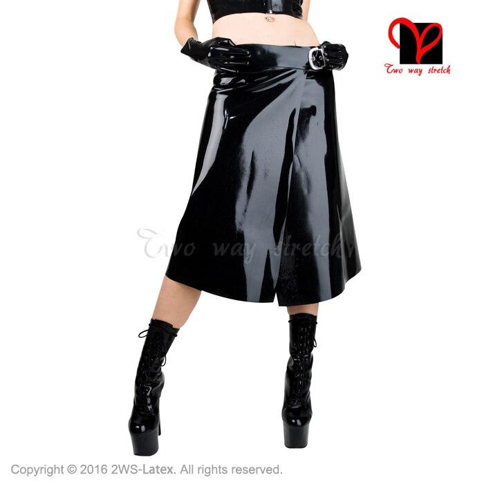 Sexy Black Latex kilt with belts Rubber skirt open Gummi Playsuit Bodycon bottoms plus size XXXL rubber kilt size XXXL QZ-057