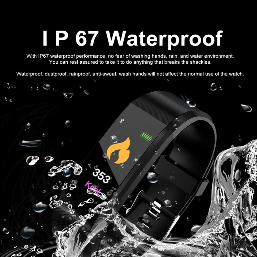 Image 2 - 115 plus Smart Fitness Bracelet ip68 Waterproof Fitness Sport Tracker Wristbands Blood Pressure Measurement Heart Rate Monitor-in Smart Wristbands from Consumer Electronics