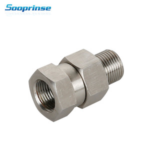 """Image 1 - Sooprinse Pressure Washer Swivel, 3/8"""" NPT Male Female Connect Fitting, 4500 PSI Stainless Steel Auto Tool car wash 2019 New"""