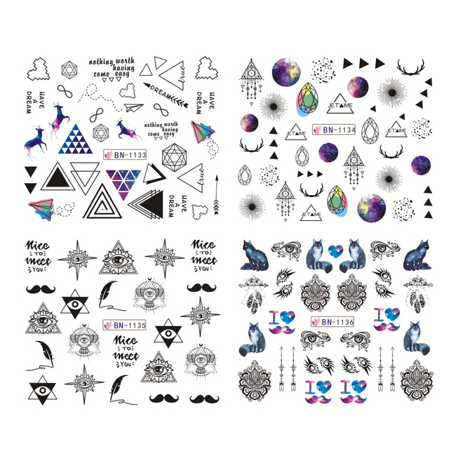 12 Designs Water Transfer Nail Sticker Black Necklace Triangle Decals Slider for Manicure Nail Art Decoration Tips CHBN1129-1140