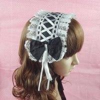 Lourie lolita princess dress wstążki koronki ozdoby do włosów czarne i białe opaski do włosów cos pasma włosów kokarda