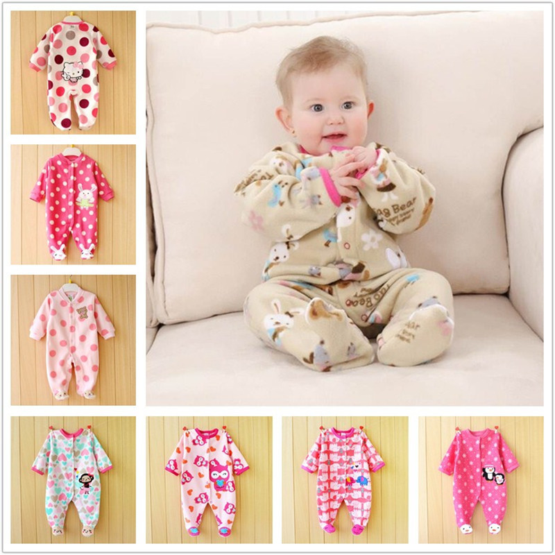 0-12M Autumn Fleece Baby Rompers Cute Pink Baby Girl Boy Clothing Infant Baby Girl Clothes Jumpsuits Footed Coverall V20 newborn baby rompers autumn winter package feet baby clothes polar fleece infant overalls baby boy girl jumpsuits clothing set