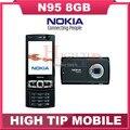 100% Original unlocked Nokia N95  2.8 inch 8GB GSM 3G 5MP WIFI GPS Mobile phone1 year warranty Drop free shipping Refurbished
