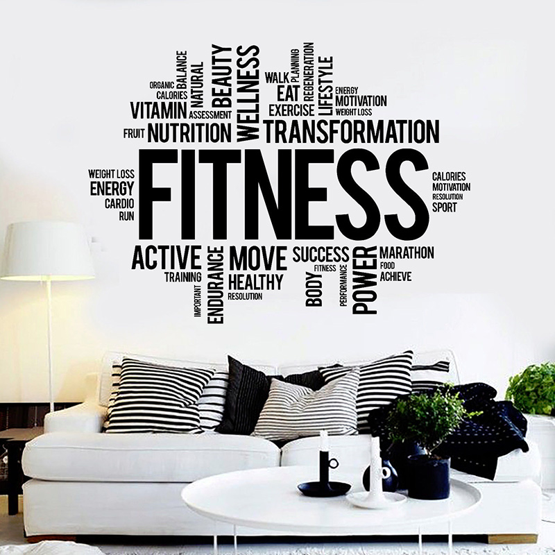 Fitness Words Wall Sticekr For Gym Healthy lifestyle Wall Decals Gym Motivation Stickers Art Mural H110
