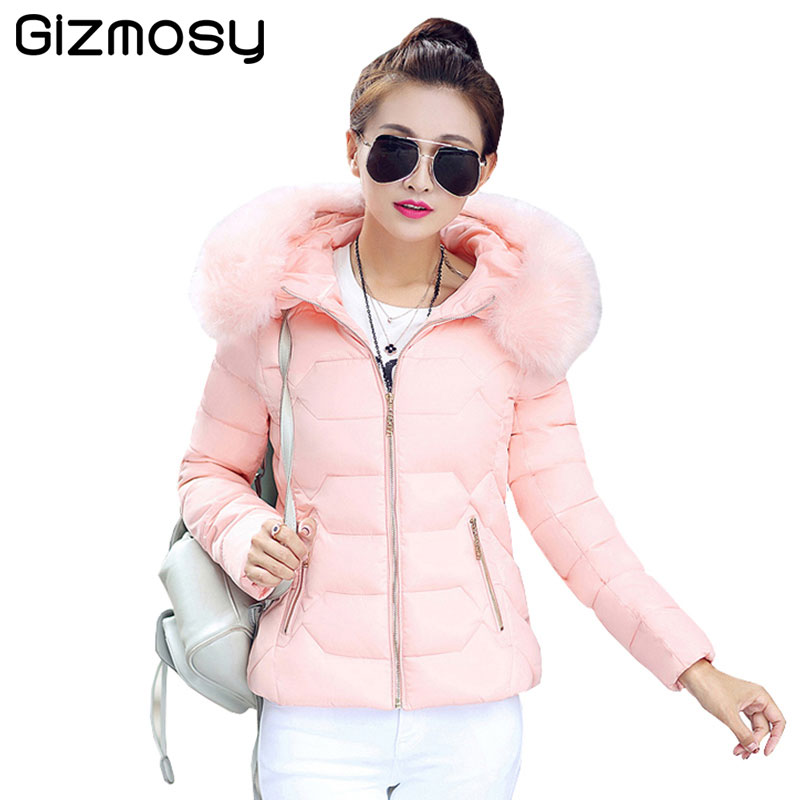 2017 Women Jackets And Coats Solid Slim Large Fur Collar Hooded short Parkas Thick Jacket Winter Women Warm Coat Overcoat SY003 large size winter parkas women hooded jacket coats korean loose thick big fur collar down long overcoat casual warm lady jackets