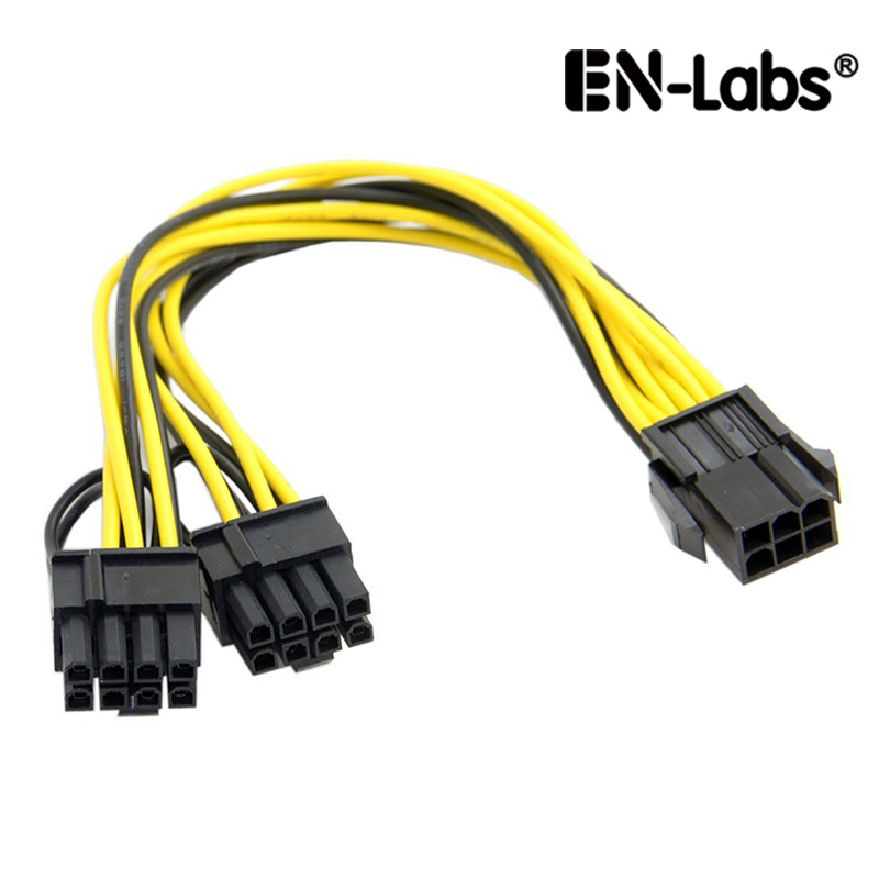 EN-Labs Molex 6-<font><b>pin</b></font> <font><b>PCI</b></font> Express to 2 x PCIe <font><b>8</b></font> (6+2) <font><b>pin</b></font> Motherboard Graphics Video Card <font><b>PCI</b></font>-<font><b>e</b></font> GPU VGA Splitter Hub Power Cable image