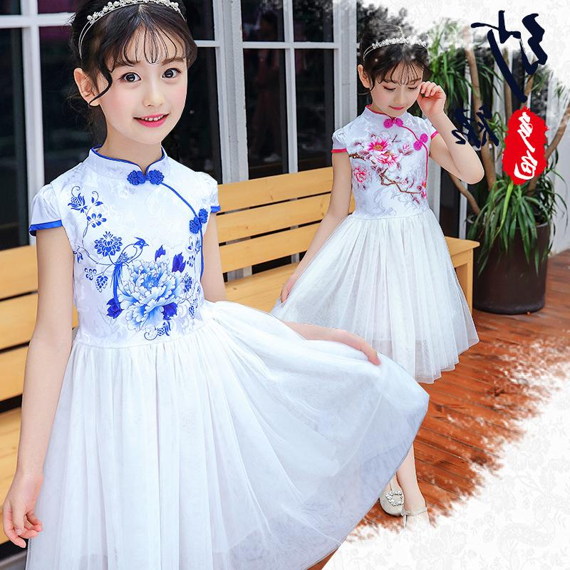 c2064eb52 2-10yrs Chinese Traditional Dress Vintage Floral Embrodiery Ball Gown Girls  Dresses Cheongsam Kids Girls Wedding Party Costume