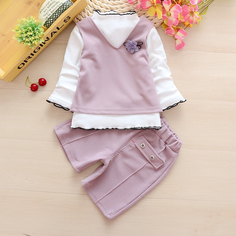 Spring Childrens Set 3 Pcs Baby Girl Clothing Set Baby Summer Childrens Sports Suit