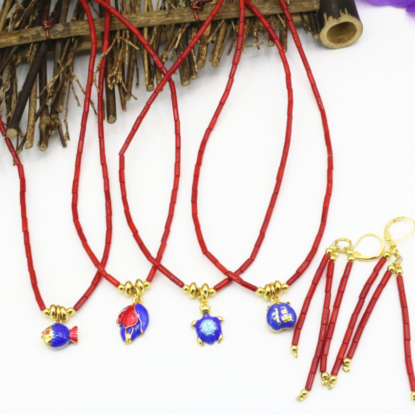 4 style natural coral red tube 2*7mm beads necklace earrings jewelry set gold-color cloisonne pendant chain 18inch B3241
