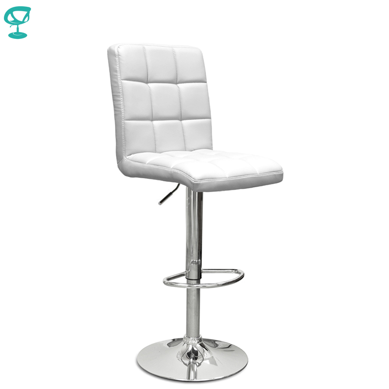 94508 Barneo N-48 Leather Kitchen Breakfast Bar Stool Swivel Bar Chair White Color Free Shipping In Russia
