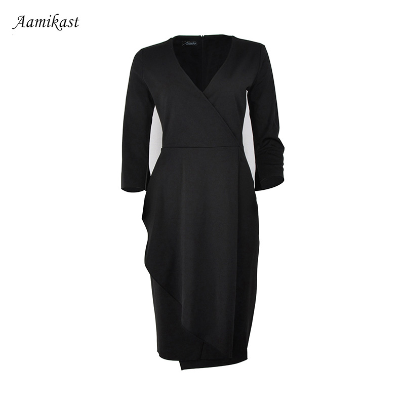 Aamikast Women Black Ruffle Summer V Neck Dresses Elegant Party Pencil  Vestidos 4XL Plus Size Ladies Formal Work Dress-in Dresses from Women s  Clothing on ... 58545307fbeb