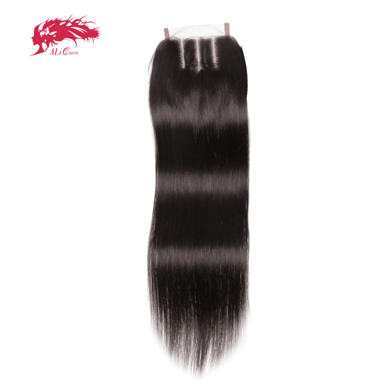 Ali Queen hair Straight 3 Part Lace Closures Brazilian Virgin Human Hair Medium Brown Swiss Lace With Free Shipping