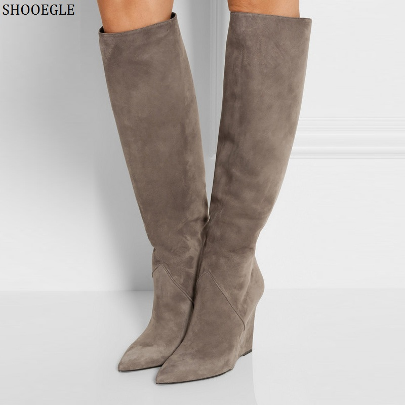 SHOOEGLE Botas Mujer Black Gray Suede Knee High Boots Pointed Toe Wedges Thigh High Boots Winter Street Style Women Tall Boots freeshipping mini bluetooth thermal printer 80mm receipt ticket printer pos printer machine for thermal printer android ios