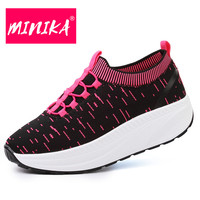 MINIKA New Fashion Women Loafers Easy Wear Off Slip On Shallow Flat Shoes Women Thick Bottom