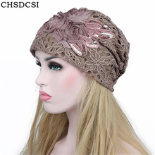 b4dddbff353 CHSDCSI Spring Autumn New Women Beanies Turtleneck Hollow Out Hat Winter  Lace Cap Fowers Hats Ladies