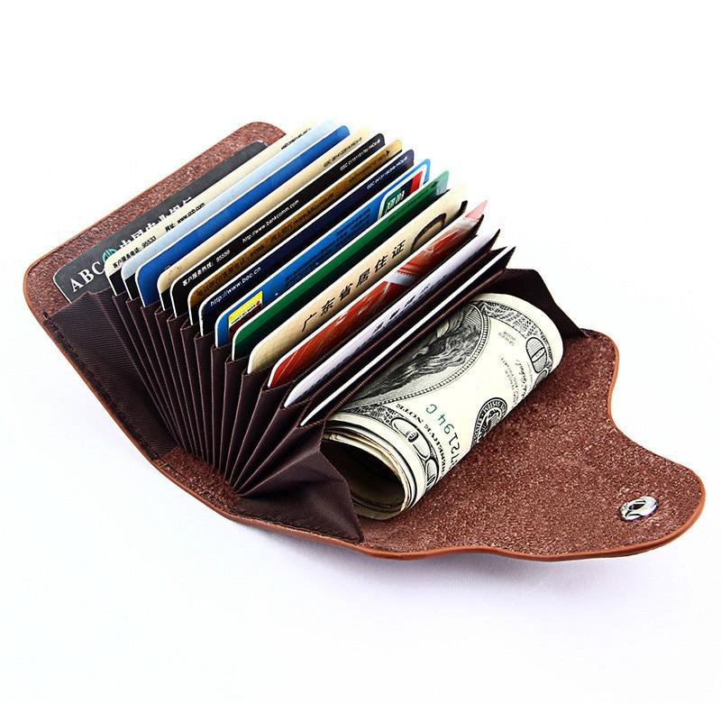 100% Топ Кожа Для женщин Для мужчин карта удержание бумажник Бизнес 13 слот для карты дамы кошелек одноцветное Карамельный цвет случае мини ун... ...