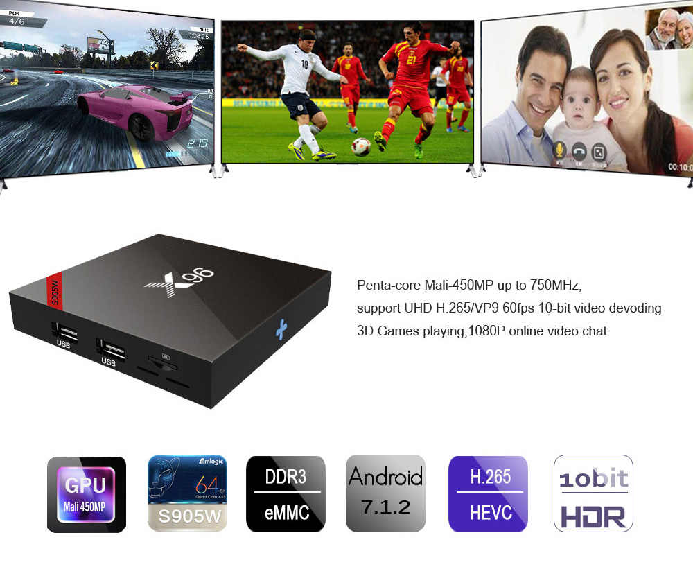 X96 TV Box Android 7.1 2G 16G Amlogic Quad Core décodeur 2.4G Wifi HDMI 2.0 H.265 VP9 1G 8G portugal lecteur multimédia X96 Mini PC