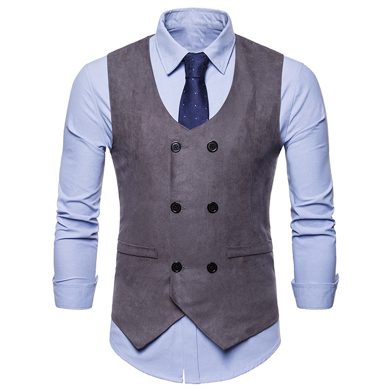 Men Double Breasted V Neck Office Waistcoat Gilet Business Suit Formal Vest Coat