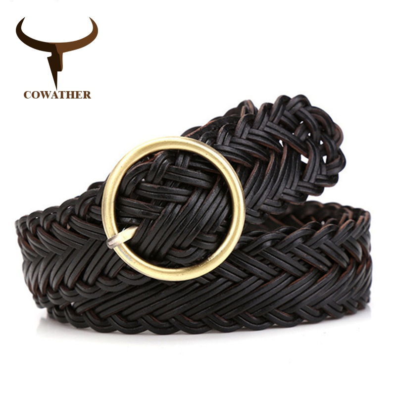 COWATHER High Quality Women Belt Knitted Leather Belts For Women Good Pin Buckle Female Strap Newest Desgin Original Brand NS010