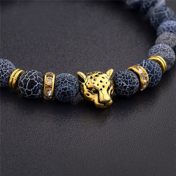 DUOVEI Weathering Stone Leopard Head Beaded Bracelet For Men New Fashion Natural Stone Tiger Eye Onyx Lava Beads Bracelets 1