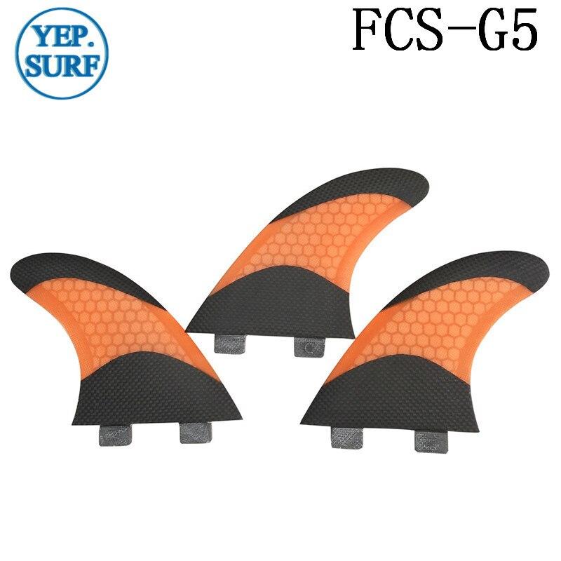 Ailerons de surf jaune fcs SUP FCS ailerons de planche de surf bicolore en nid d'abeille noir en Fiber de carbone G5 Quilhas ailette de prancha