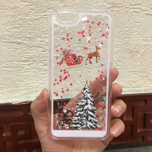 Immagini Di Natale Per Iphone 5.Us 4 94 Per Iphone 5 S Caso Divertente Di Natale Dinamico Liquid Glitter Sabbia Stelle Caso Della Copertura Posteriore Per Il Iphone 5 Se