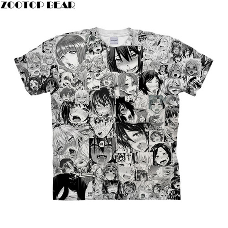 Ahegao Magic Face 3D Women t shirt Travel Summer tshirt Men t-shirt Tee Funny Short Sleeve Shirt Streetwear Dropship ZOOTOPBEAR