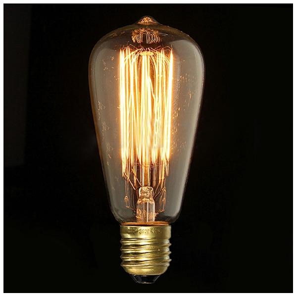 E27 40W Edison Vintage Retro Light Bulb Carbon Fiber Light Bulb Nostalgia Antique Decoration