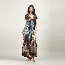 Mulheres Boho Verão Beach Dress V Neck longos Vestidos de Manga Curta Leopardo Vestido Maxi Longo para o Feriado de verao