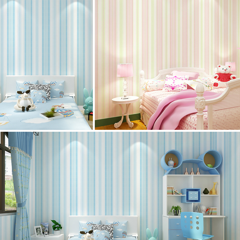 #6263- Modern Stripe Wallpaper,Blue Pink Non Woven Wall Paper for Home Bedroom Kids Boys Girls room Wallpaper W0.53m*L10m/roll boys girls wallpaper roll blue pink non woven wall paper kids wallpaper classic stripe wall paper child for living room w206