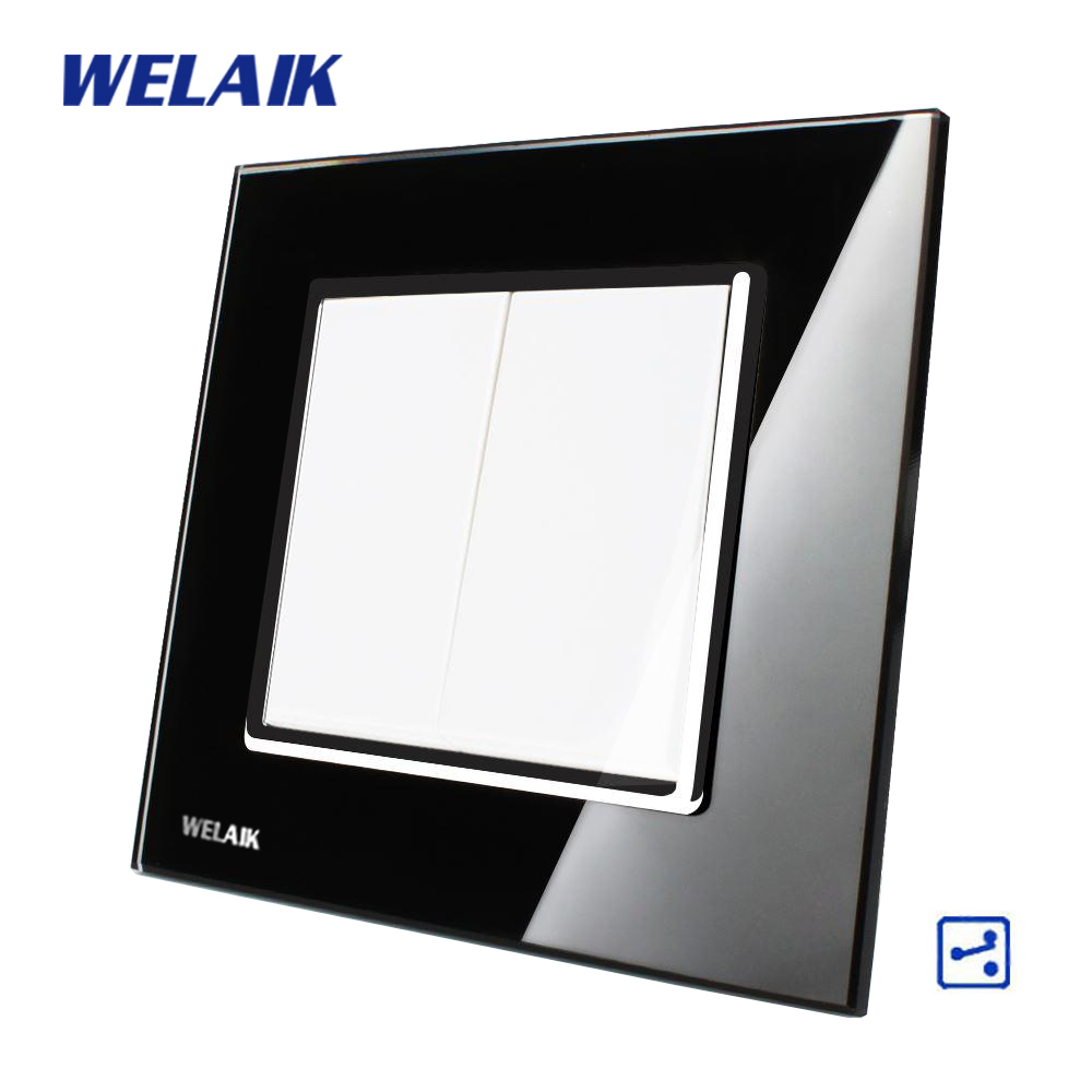 WELAIK Push Button 2Gang2Way Switch Manufacturer of Wall Light Switch Black  Crystal Glass Panel AC 110-250V  A1722B 2017 smart home crystal glass panel wall switch wireless remote light switch us 1 gang wall light touch switch with controller