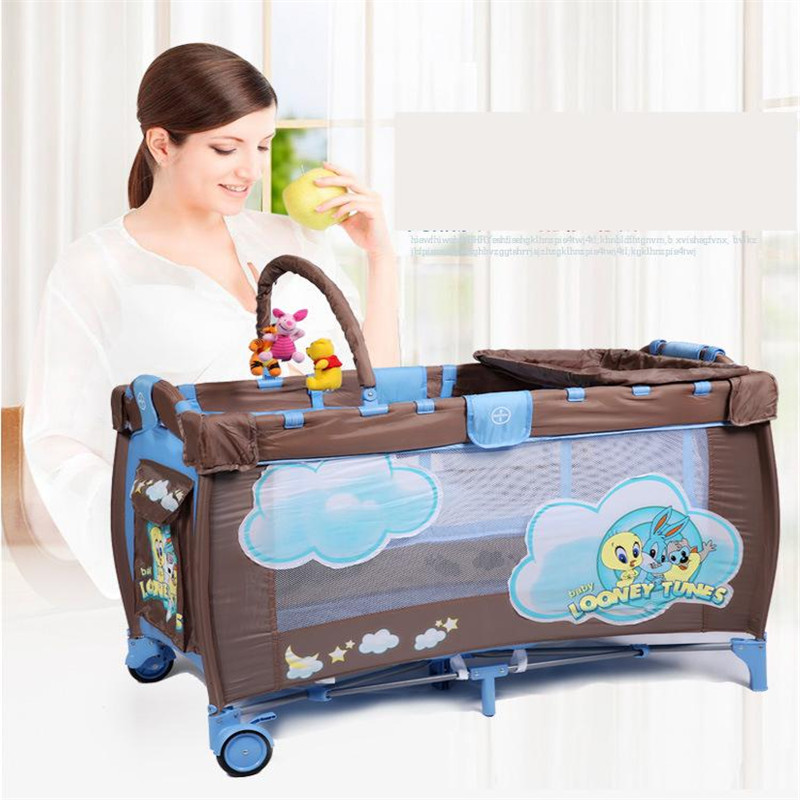 2017 Infant Baby Soft&Breathable Cartoon Crib High-profile European Baby Foldable Playpen Baby Bed With Package Doll Toy Gift