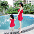 Mãe e filha se veste mulheres roxas família combinando roupas Meninas vestido Da Senhora saia vestido de praia da família roupas 20 #